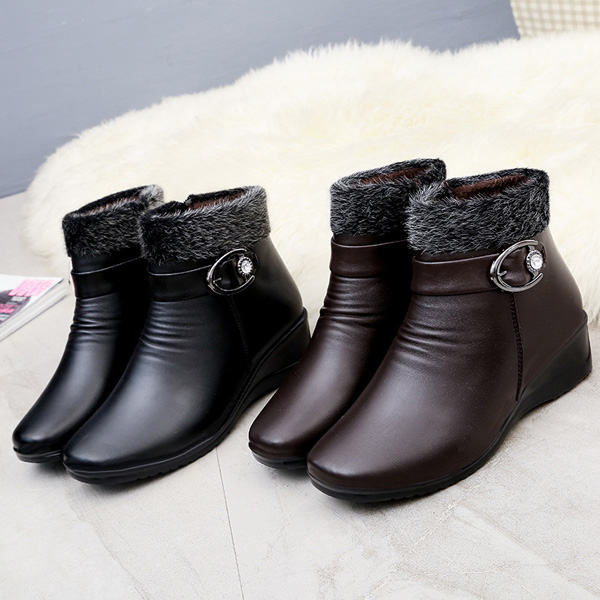 Zipper Faux Fur Lining Round Toe Ankle Short Snow Boots For Women