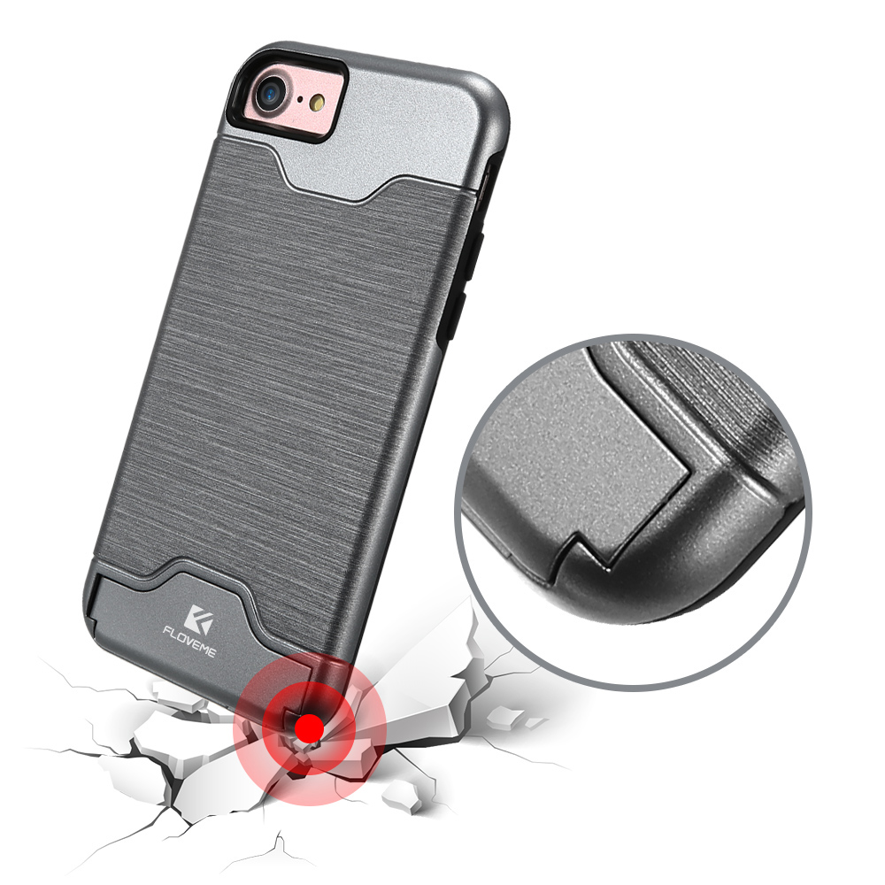Floveme Hidden Card Slot Kickstand Case PC TPU Dual Layers Of Protection Shockproof For iPhone 7