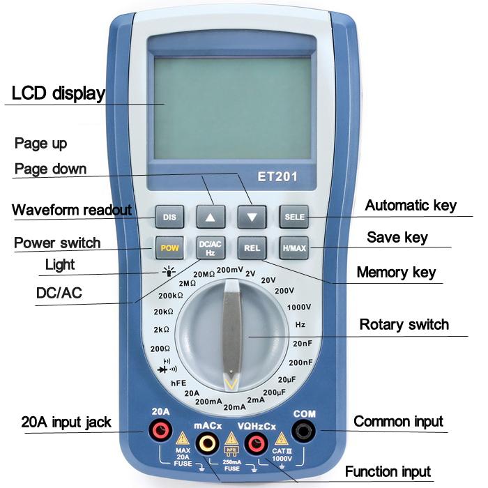 EONE ET201 2 in 1 Digital Intelligent Handheld Storage Oscilloscope Multimeter AC/DC Current Voltage Resistance Frequency Diode Tester