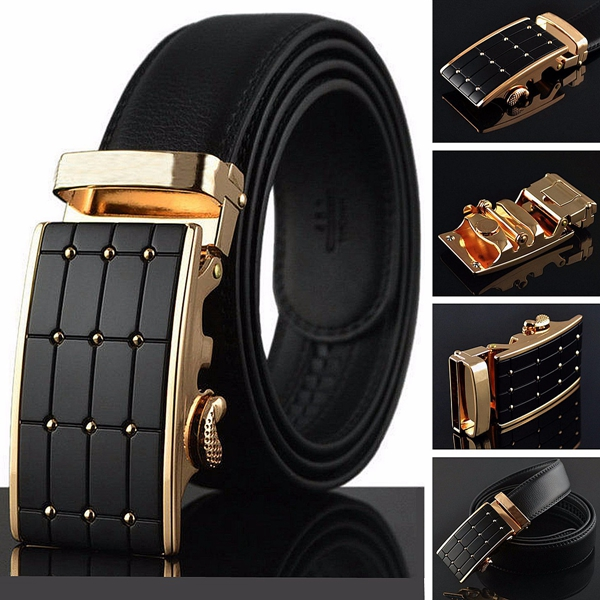 Mens Belt Business Black Cowskin Leather Adjustable Automatic Buckle Waist Strap Belt pouchkan stylish cow leather men s belt with zinc alloy buckle black