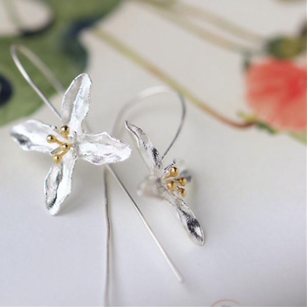 925 Silver Earrings Tassel Flowers Elegant Earrings