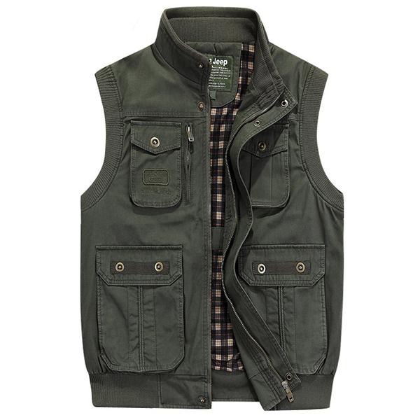 NIANJEEP Mens Spring Casual Sleeveless Jackets Washed Multi Pockets Solid Color Vest Waistcoats