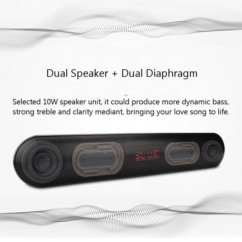 JC-176 Dual Speaker Dual Diaphragm HiFi Bluetooth Speaker Microphone AUX-in TF Card U Disk FM Radio