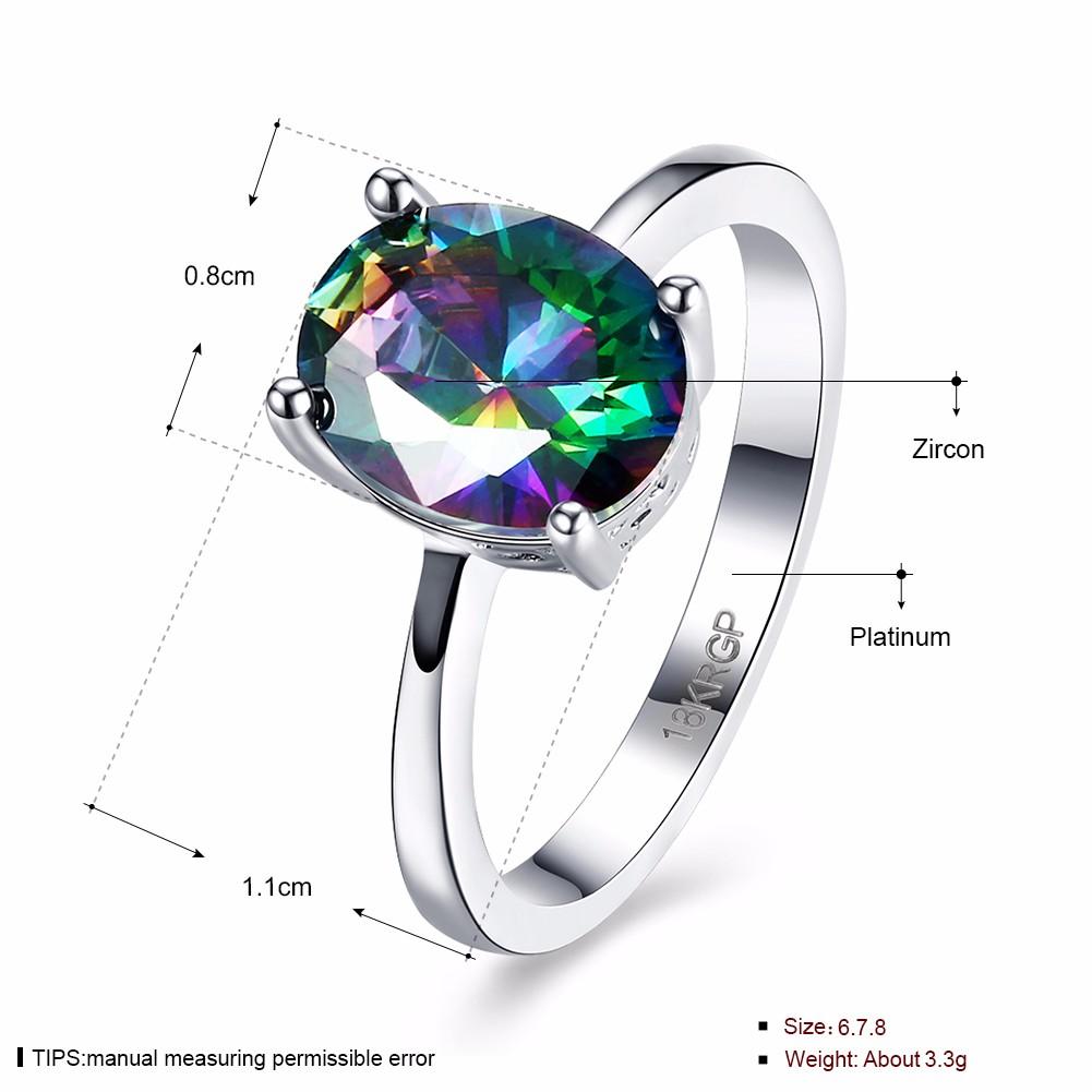 Sweet Wedding Ring Oval Rainbow Zircon Sweet Women Ring