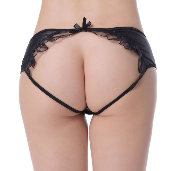 Ohyeah Plus Size Women Leatherette Crotchless Back Open Falbala G String Sexy Panties koko may
