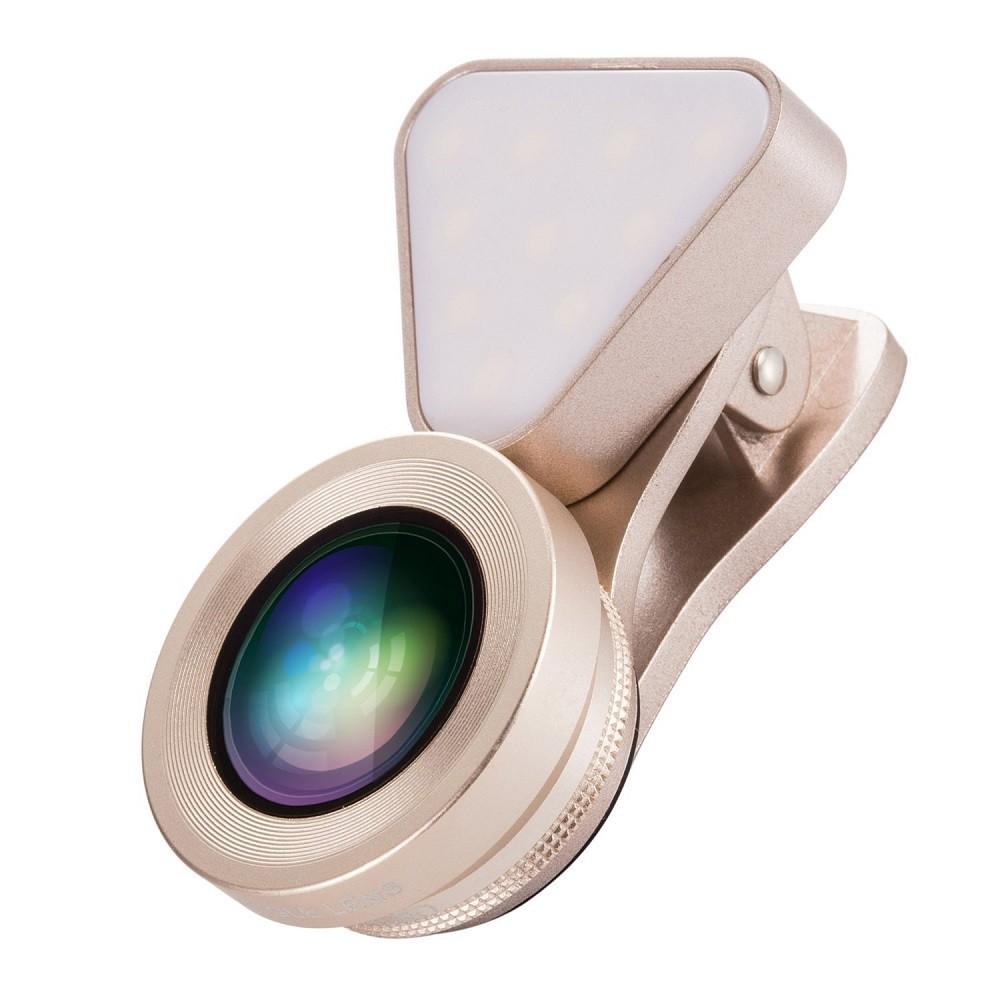Ajustável 140 ângulo de ângulo 15x lente macro luz de preenchimento LED beleza selfie para iPhone Samsung