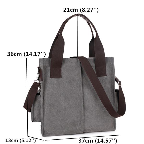 Women Men Side Pocket Canvas Handbags Casual Shoulder Bags Capacity Crossbody Bags