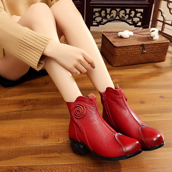 Flower Leather Flat Ankle Boots