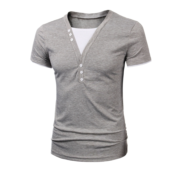 Mens Cotton Solid V-neck Botton T-shirt Slim Fit Short-sleeved T-shirt