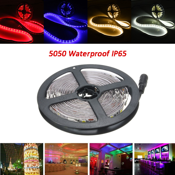 5M 30W LED Strip Flexible Light Waterproof IP65 SMD 5050 300 Leds White/Warm White/Red/Blue DC12V 5 30pcs lot 40inch 1m long led channel embedded aluminum profile for double row led strip milky transparent cover for 20mm pcb
