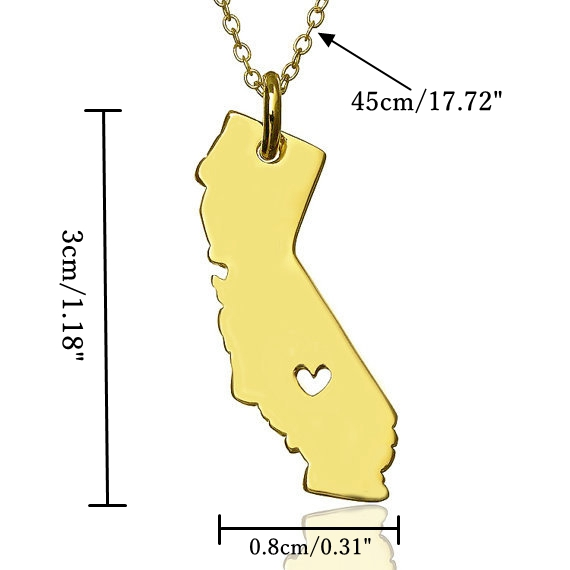 California United States Map Necklace Love Heart 925 Silver Plated Chain
