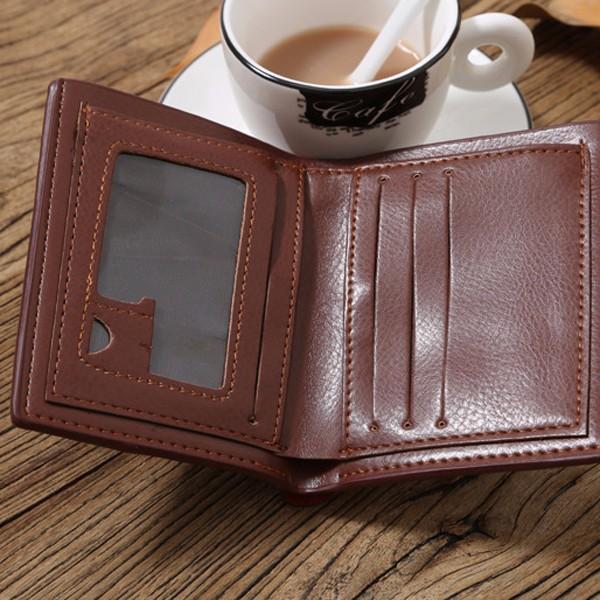 Large Capacity Men Pu Leather Short Wallet Credit Card Holder