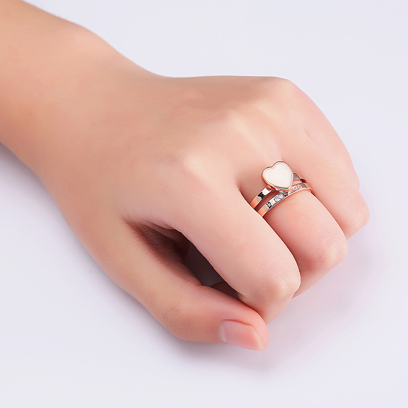 2pcs Heart Shape Enamel Rhinestone Rose Gold Engagement Ring Fine Jewelry for Women