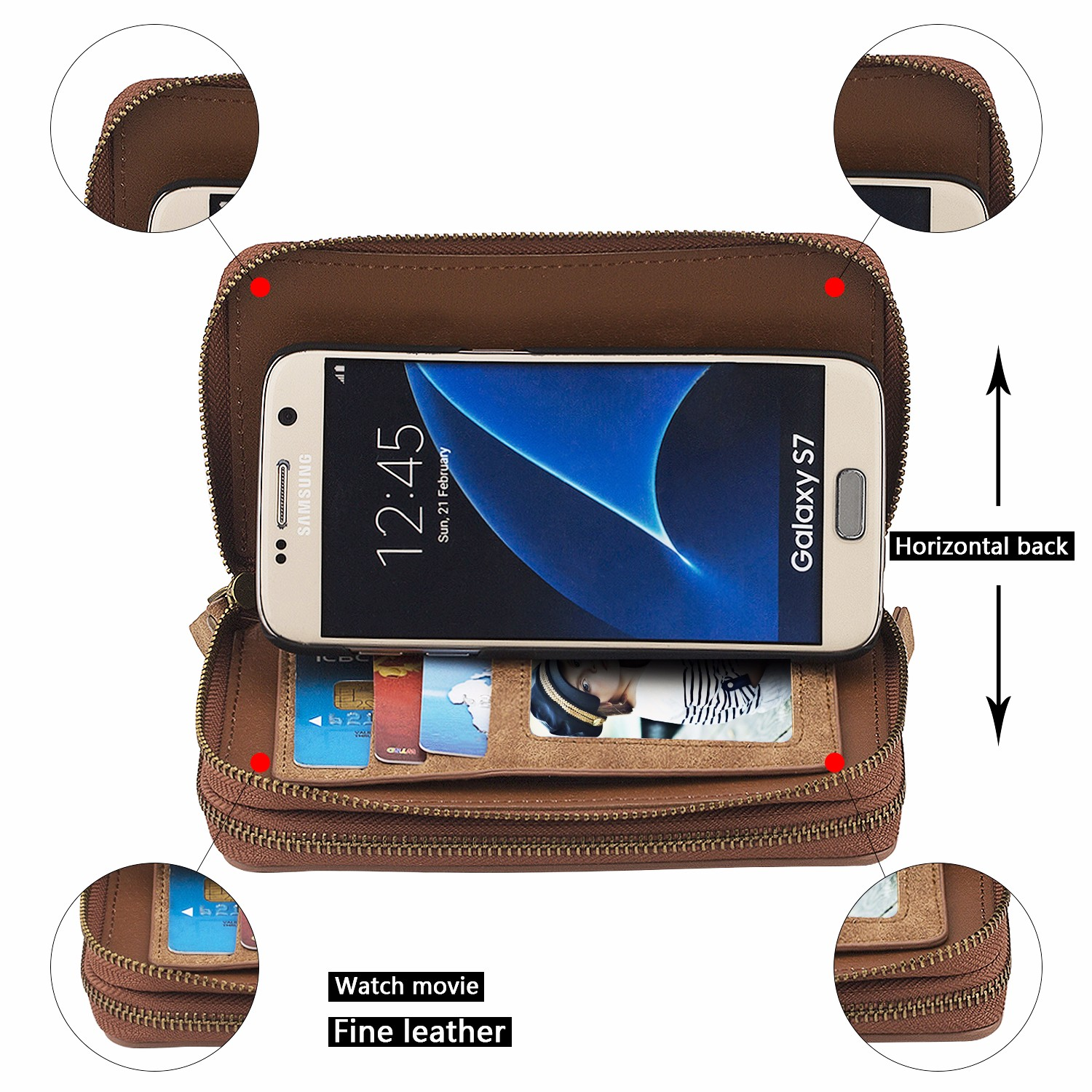 Double-deck Multi-functional Card-slot Zipper Wallet Case Cover For Samsung Galaxy S7