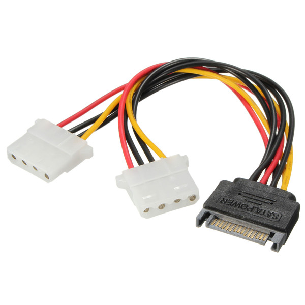 Buy SATA 15 Pin to Dual 4 Power Adaptor Y Splitter Cable Supply