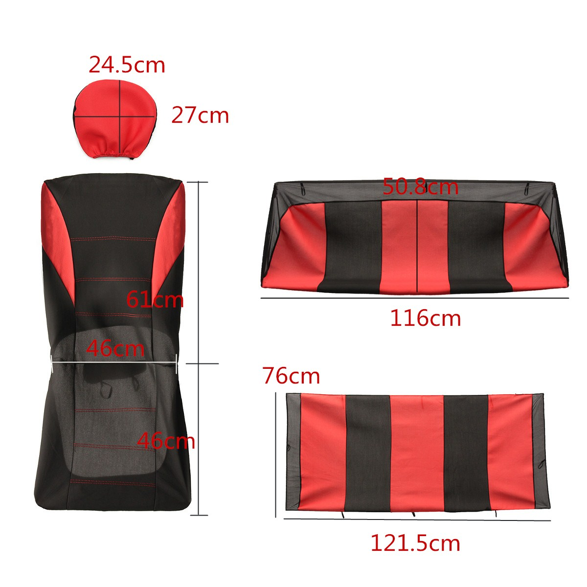 Universal Four Seasons Red Black Fabric Car Seat Covers Protectors 9pc Full Set Airbag Compatible