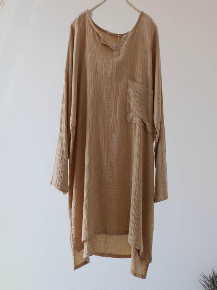 Vintage Women Pocket Long Sleeve Solid Color Irregular Blouse