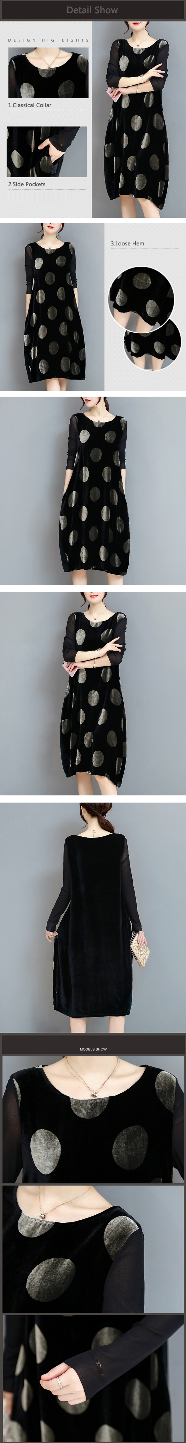 Elegant Women Long Sleeve Polka Dot Velvet Loose Dresses