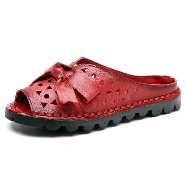 SOCOFY Leather Hollow Out Slippers