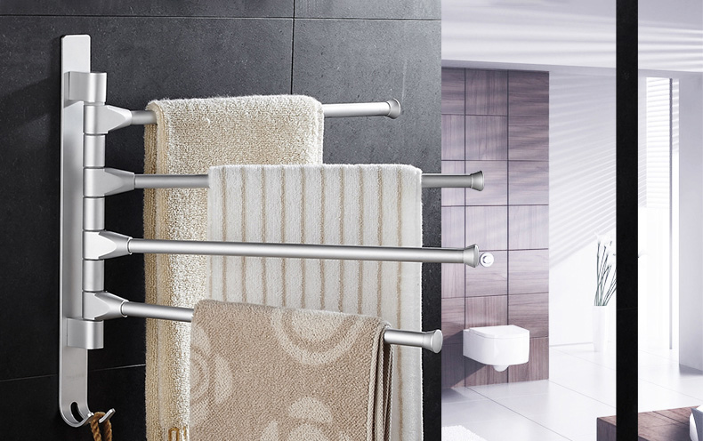 Bathroom Towel Rack Space Aluminum Towel Rack 4 Arms 2 Hooks Towel Movable Wall Mounted Swing Arm Towel Bars Bathroom Holder