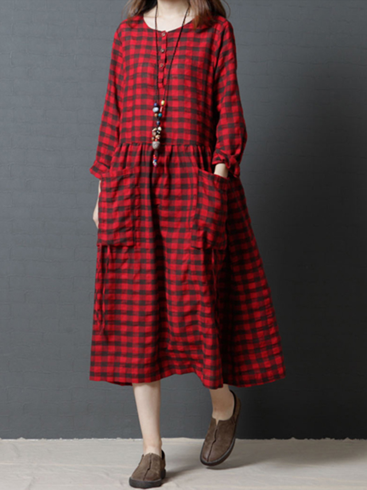 Casual Loose Plaid Long Sleeve Women Dress