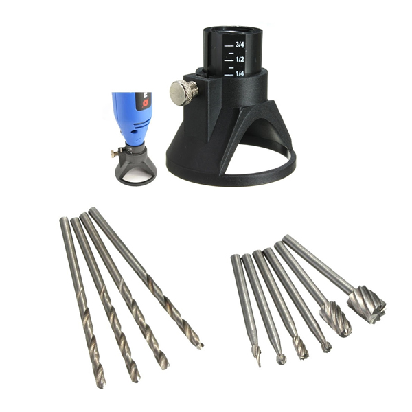 Drill Carving Locator with 4pcs 3mm Twist Drills and 6pcs Wood Milling Burrs for DremelRotary Tools szs hot 20 x tungsten steel solid carbide burrs for rotary drill die grinder carving