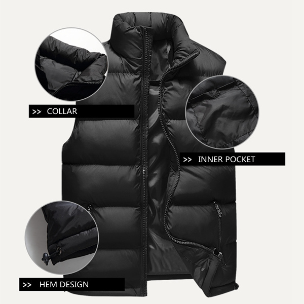 Winter Waterproof Windproof Lightweight Warm Sleeveless Padded Vest