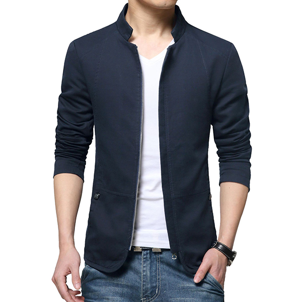 Slim Fit Stand Collar Zipper Spring Autumn Cotton Jacket for