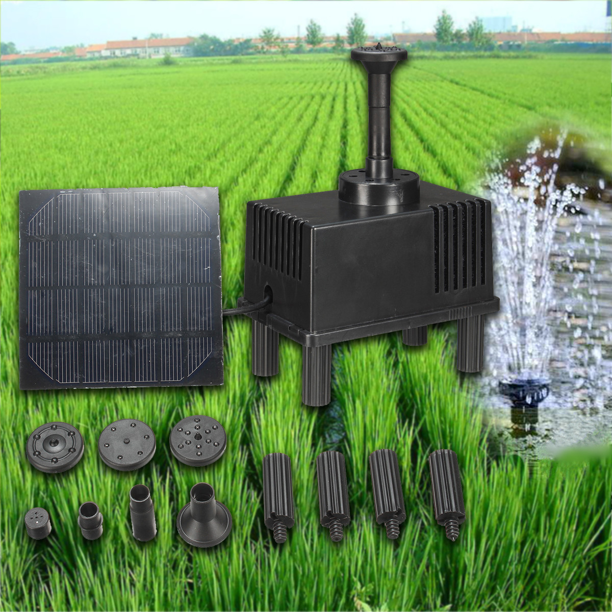 Solar power fountain water pump panel kit pool garden pond for Garden water pump