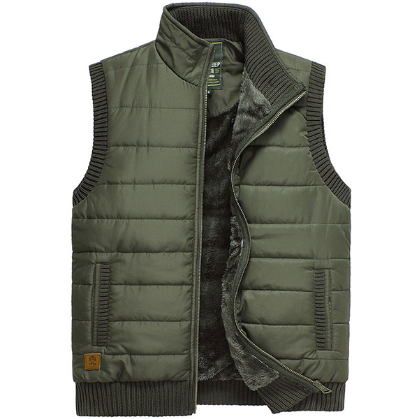 Mens Autumn Winter Stand Collar Warm Thick Outdoor Vest Casual Waistcoat Three Colors