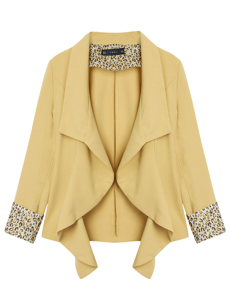 Elegant Women Lapel Leopard Stitching Asymmetrical Work Jacket