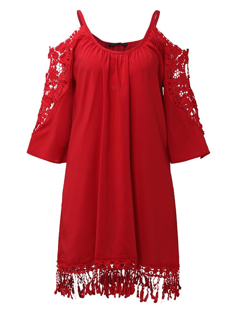 Women Off Shoulder Lace Strap Hollow Half Sleeve Casual Mini Dresses
