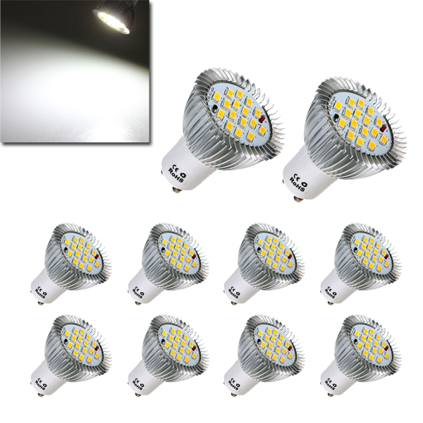 10X GU10 7W 640LM Pure White LED Light Bulbs Lamps AC85-265V