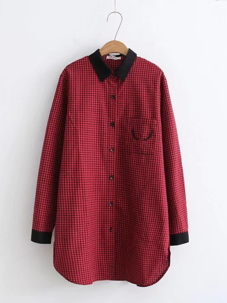 Vintage Women Long Sleeve Plaid Patchwork Button Down Shirt with Pocket