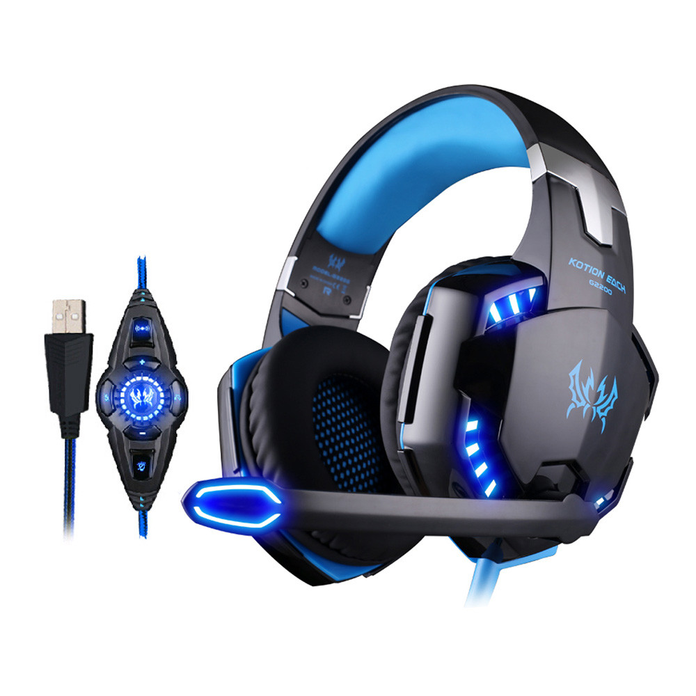 KOTION EACH G2200 USB 7.1 Surround Sound Vibration Gaming Headphone Headset with Mic LED Light