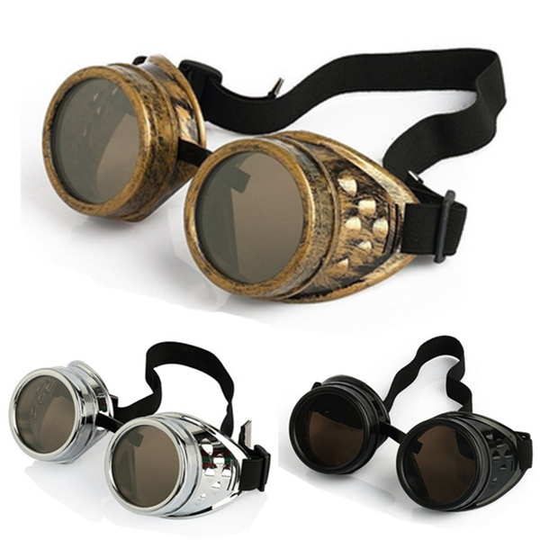 Vintage Victorian Steampunk Goggles Cosplay  Halloween Glasses Welding Cyber Punk Biker welding helmet welder cap for welding equipment chrome for free post