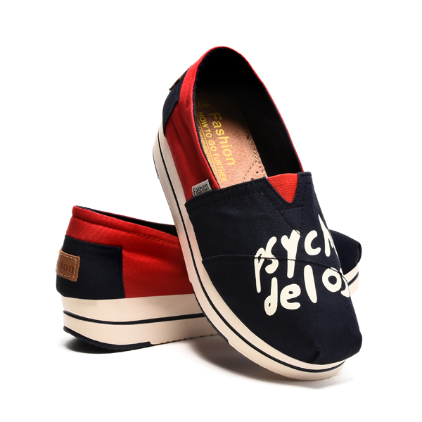 Women Chic Shoes Breathable Summer Casual Shoes Slip-on Platform Canvas