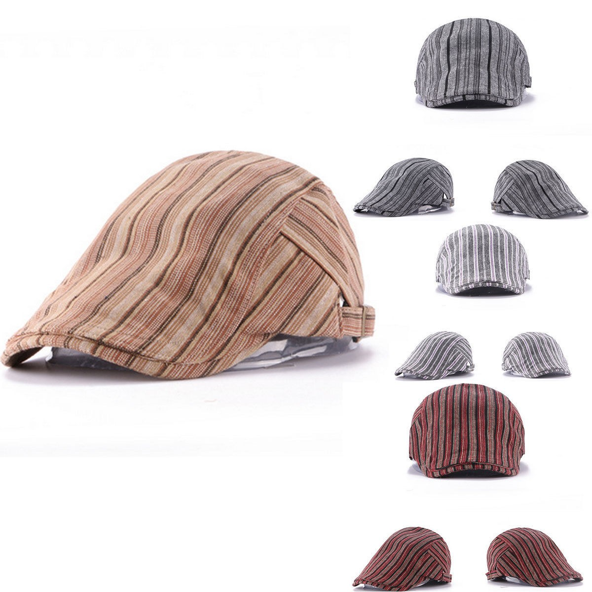 Unisex Men Women Stripe Cotton Blend Buckle Newsboy Beret Hat Duckbill Golf Cabbie Adjustable Cap men male wool blend newsboy beret cap grid blank thick flat cowboy cabbie hat