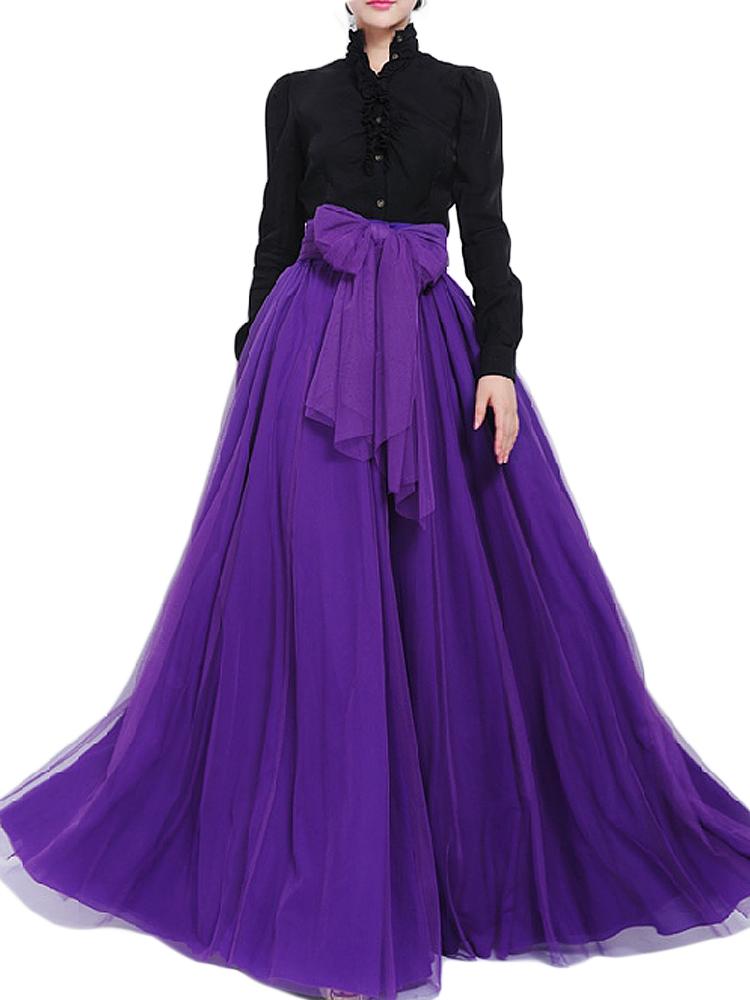 Purple High Waist Mesh Women Skirt