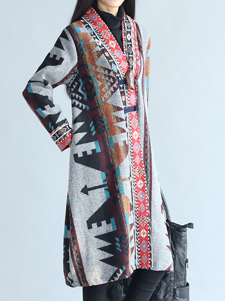 Ethnic Button Printing Long Sleeve Loose Long Vintage Coat