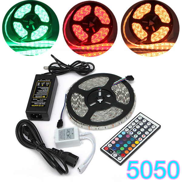 5M SMD 5050 RGB Waterproof 300 LED Strip Light 44 Key Controller 12V 10m 5m 3528 5050 rgb led strip light non waterproof led light 10m flexible rgb diode led tape set remote control power adapter