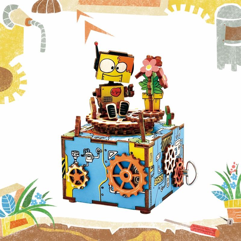 Robotime поделки собран вручную коленчатый музыкальная шкатулка деревянная комплект модель сборки деревянный