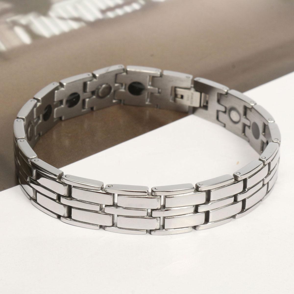 Punk Titanium Steel Magnetic Magnet Men Bangle Chain Bracelet