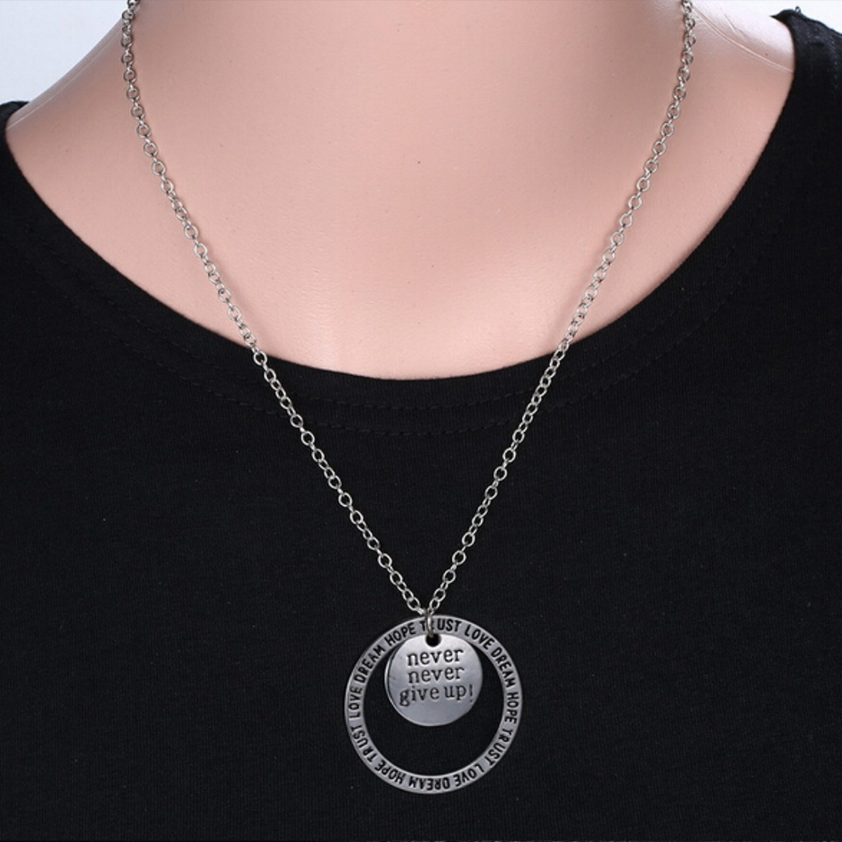 Tree Plant Animal Letter Star Round Charm Silver Necklace Chain