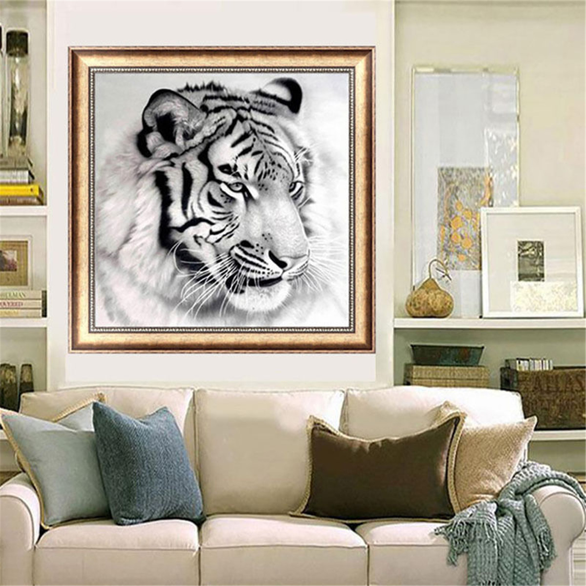 Ebluejay 12x12 inches black and white tiger 5d diamond for Home decor 5d
