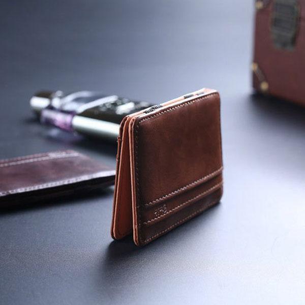 レザーマジックウォレットメンズマネークリップカード財布2色