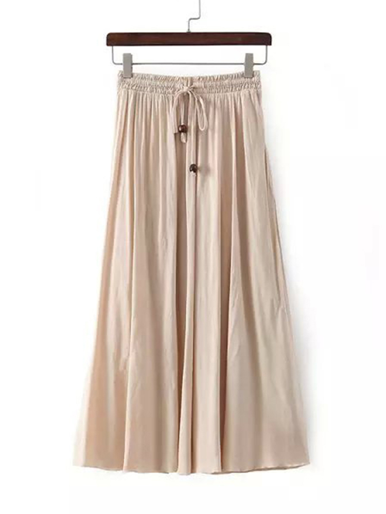 Rayon Women Lace Up Elastic Waist Pure Color Pleated Long Skirts
