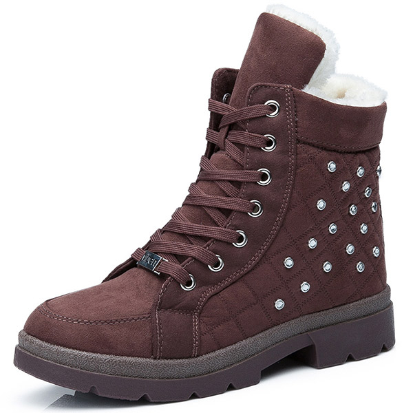 Women Casual Winter Keep Warm Boots Warm Cotton Round Toe Lace Up Snow Boots