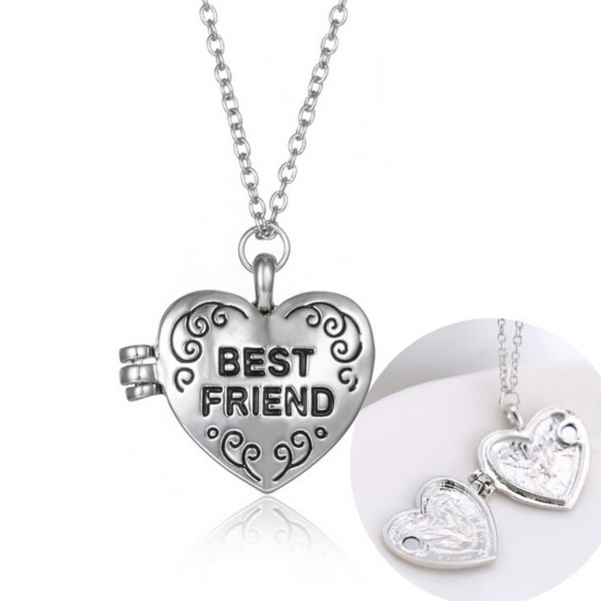 SIlver Crystal Rhinestone Heart Letter Moon Clavicle Women Necklace Chain