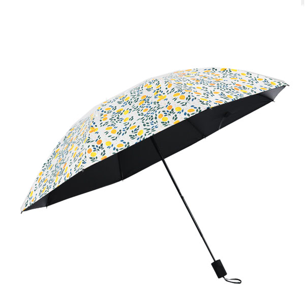 LYZA Hand-painted Lemon 3 Folds Sunscreen Umbrella Rain Umbrella Sun Umbrella